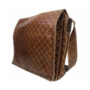 Matteo Mio Leather Messenger Bag Crossbody Emboss